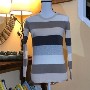Old Navy crew neck striped sweater brown/grey S